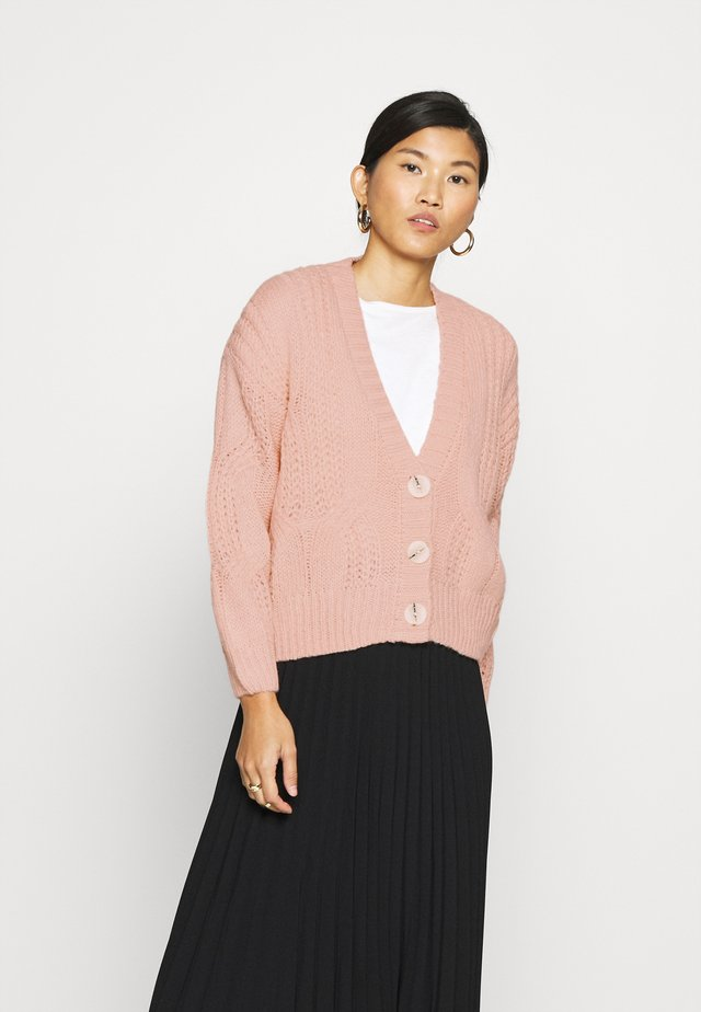 CABEL V NECK BUTTON FRONT CARDIGAN - Cardigan - blush