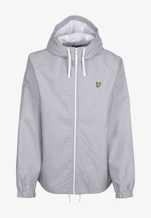 Zip-up hoodie - mid grey marl/ white