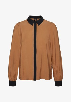 Button-down blouse - tobacco brown
