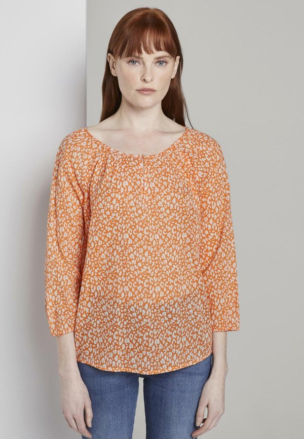 TOM TAILOR BLOUSE CARMEN SHAPE PRINTED - Bluzka - melon small leo design/pomarańczowy GOGH