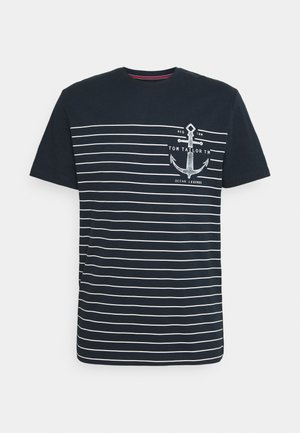 PRINTED HARBOUR STRIPE - Print T-shirt - dark blue
