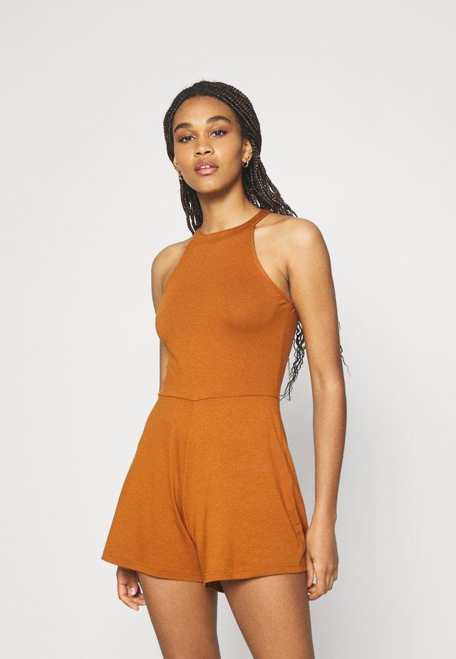 Halterneck sleeveless playsuit - Tuta jumpsuit - dark brown