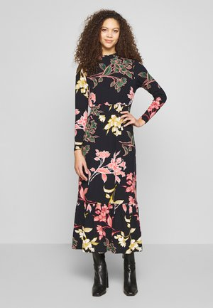 FLORAL TIERED SHIRRED NECK DRESS - Trikoomekko - black