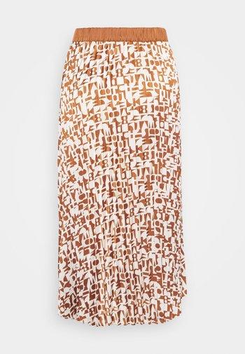 SKIRT WITH ALLOVER PRINT - Pleated skirt - beige