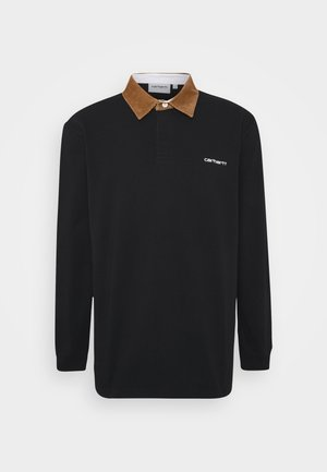 RUGBY - Polo shirt - black/hamilton brown/white