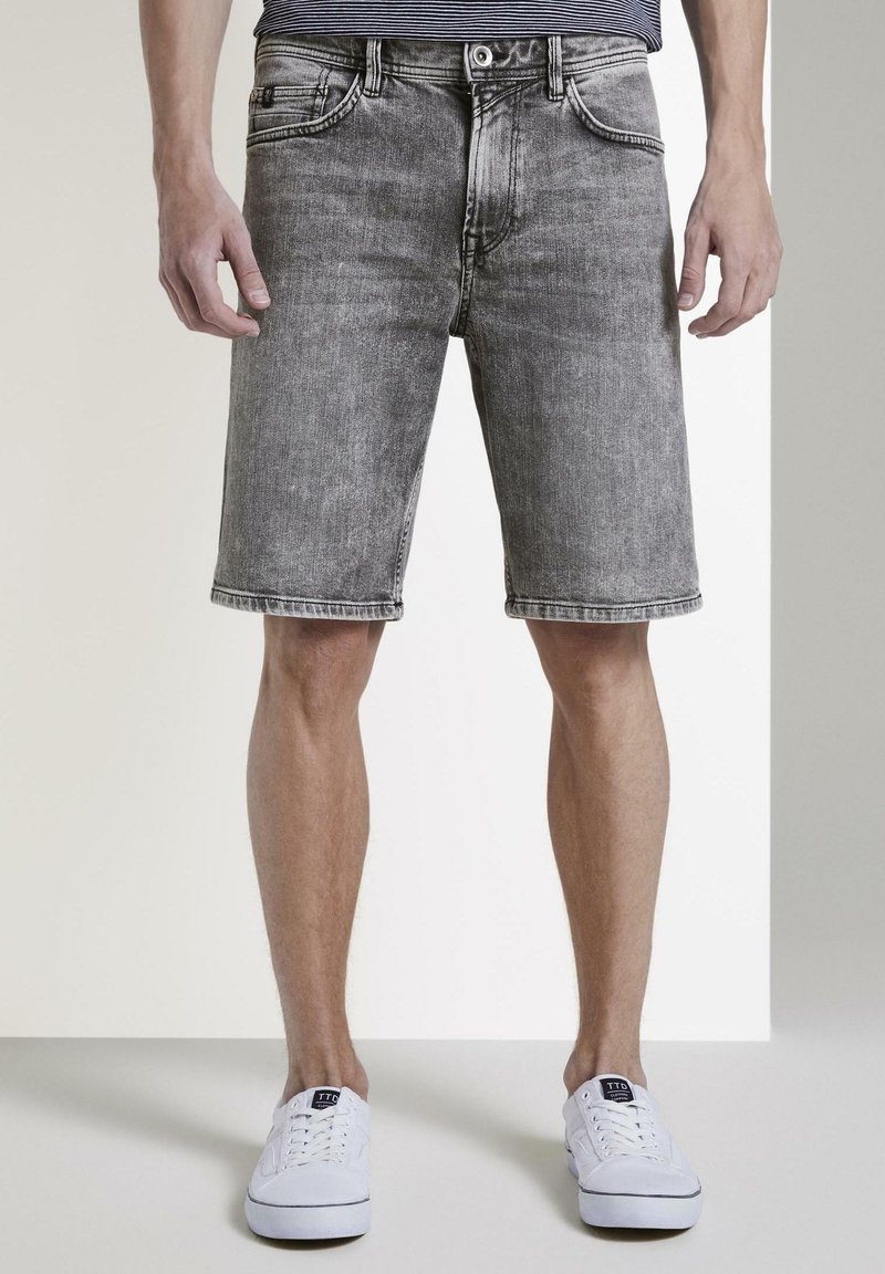 TOM TAILOR DENIM - Denim shorts - used light stone grey denim