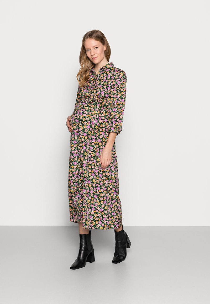 Pieces Maternity - PCMROSIA - Košilové šaty - black/dewberry