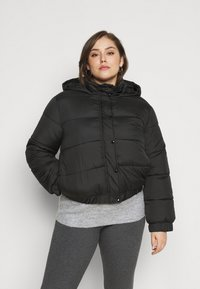 Missguided Plus - HOODED PUFFER JACKET - Winter jacket - black - 0