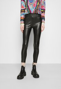 Even&Odd - HIGH WAIST WITH SEAM DETAIL - Trousers - black - 0
