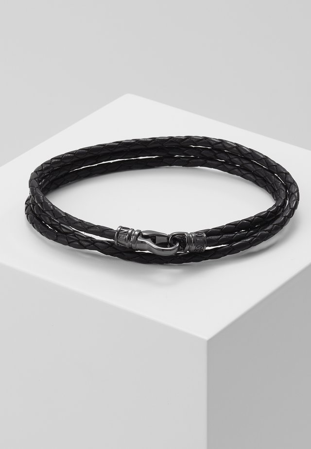 BRAIDED BRACELET - Náramek - black/gunmetal