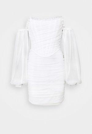 DRAPED BALLOON BODYCON DRESS - Cocktailkjole - white