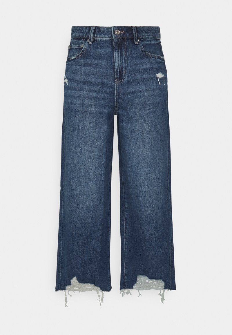 American Eagle - WIDE LEG CROP - Flared Jeans - empire blue