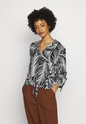 MONO SLUB TIE FRONT - Bluse - black/white
