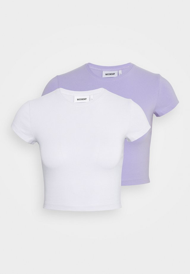 SABRA 2 PACK - T-Shirt basic - lilac/white