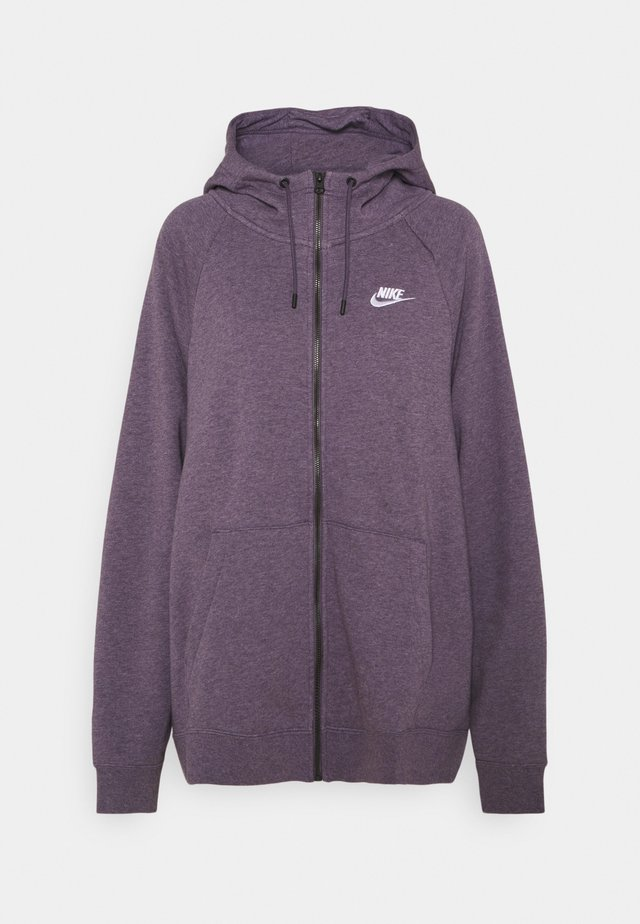 HOODY PLUS - Zip-up hoodie - dark raisin/heather/white