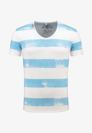 MT AIRFLIGHT - Print T-shirt - offwhite-blue