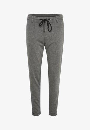 Spodnie materiałowe - grey mel.- black/chalk stripe