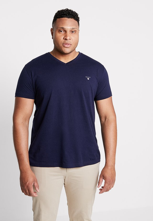 THE ORIGINAL SLIM V NECK  - Print T-shirt - evining blue