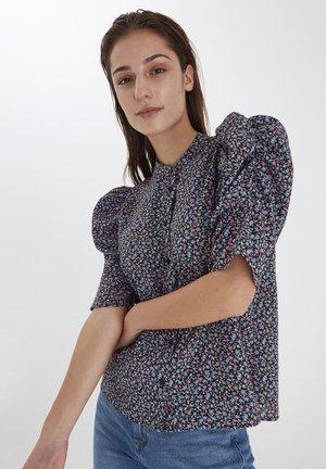 Button-down blouse - black, print