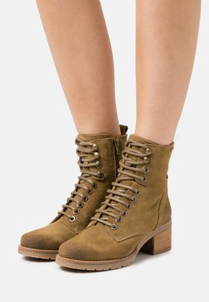 CASIO - Lace-up ankle boots - afelpado kaky
