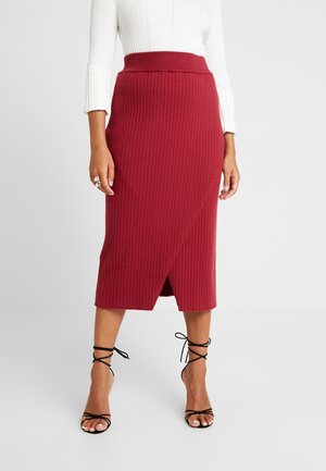 MIA RECKLESS MIDI SKIRT WITH SPLIT - Pencil skirt - rust