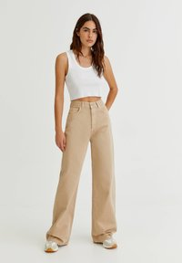 PULL&BEAR - Flared Jeans - mottled beige - 1