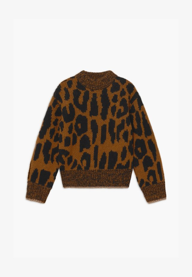 CHUNKY LEOPARD VOLUMINOUS SLEEVES - Strikkegenser - light brown/black