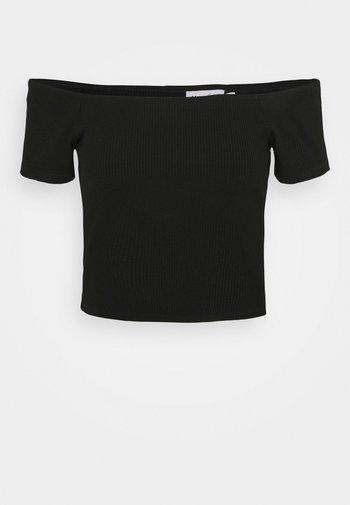 OFF SHOULDER SHORT SLEEVE - T-shirts med print - black