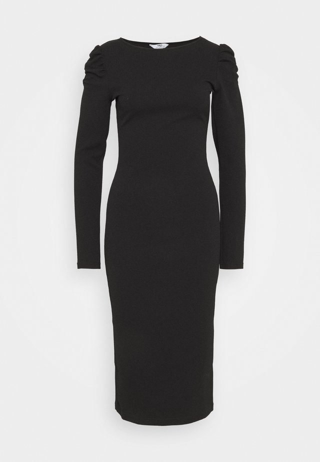 RUCHED SLEEVE BODYCON - Vestito di maglina - black