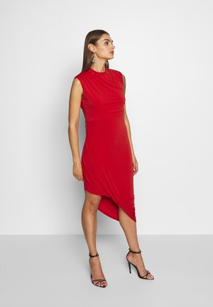 HIGH NECK MIDI DRESS - Cocktail dress / Party dress - red