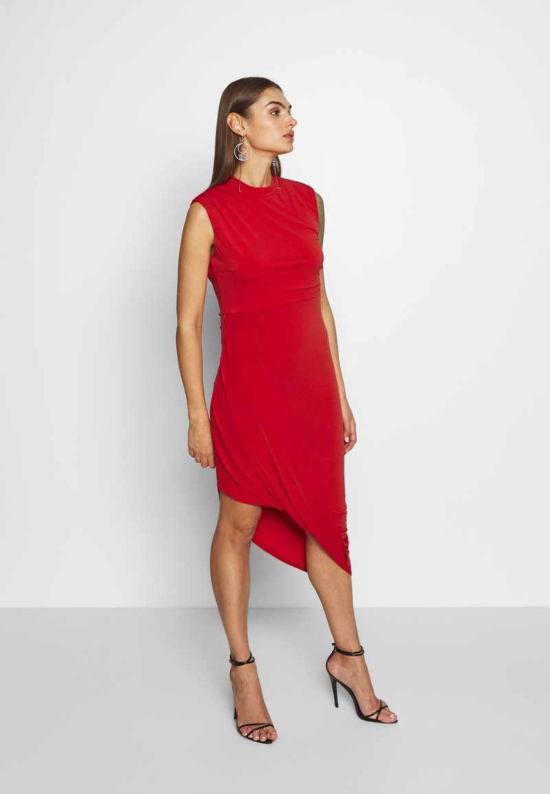 WAL G. - HIGH NECK MIDI DRESS - Koktejlové šaty / šaty na párty - red