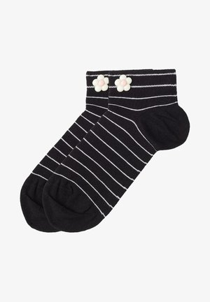 Socks -  striped black flower appliqué