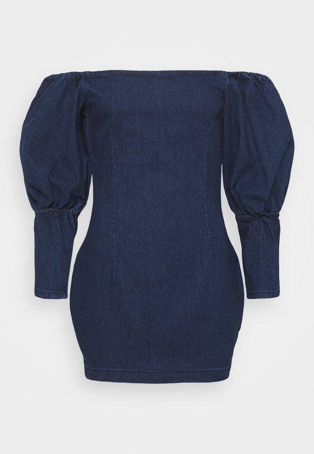 PUFF SLEEVE BARDOT DRESS - Spijkerjurk - deep blue