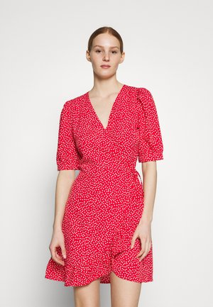 ONLSWEETHEART WRAP FRILL DRESS - Denní šaty - red/cloud dancer
