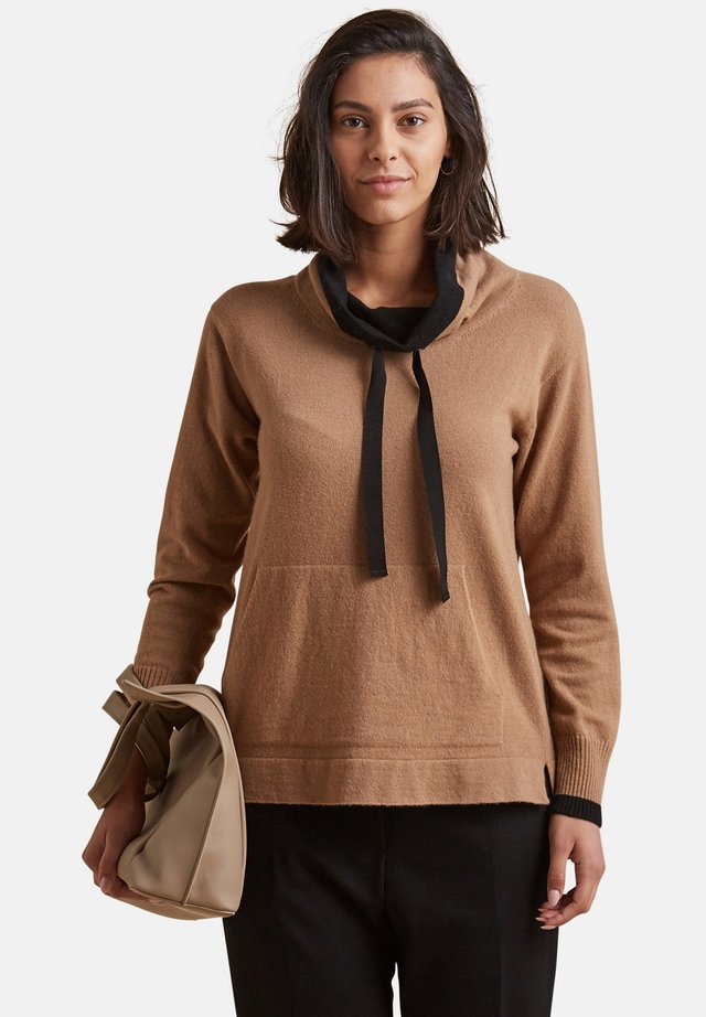 MIT SCHWARZEN BORDÜREN - Sweatshirt - beige