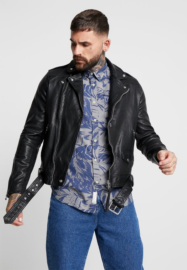 MANOR BIKER - Leather jacket - black