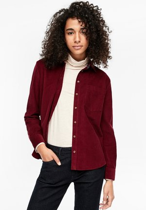 MIT KARO-DETAILS - Button-down blouse - burgundy