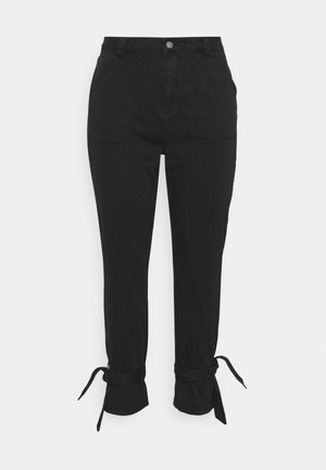 TIE TROUSERS - Jeans Tapered Fit - black