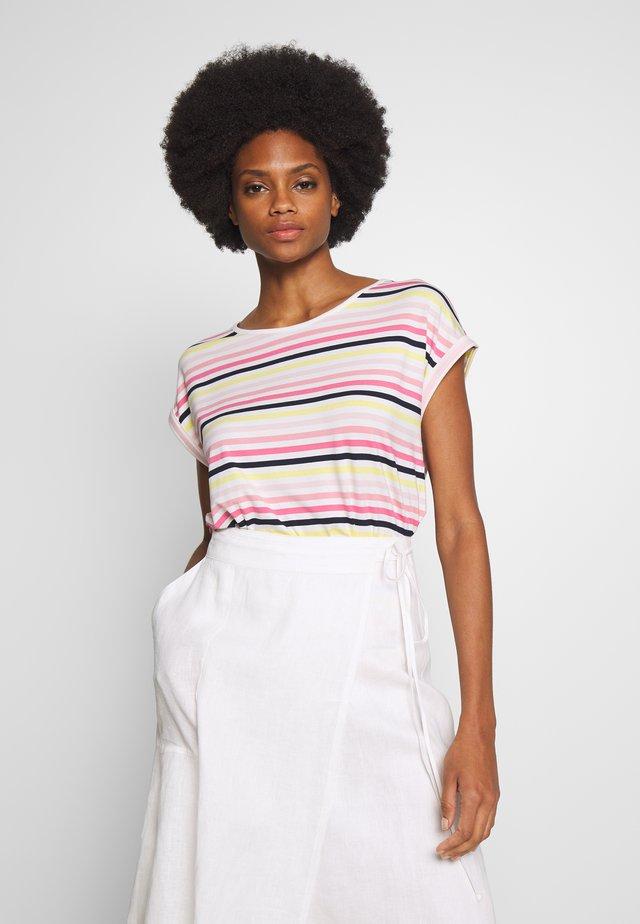 T-SHIRT STRIPED CREW-NECK - T-shirt z nadrukiem - offwhite/multicolor