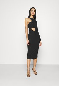 Missguided - CUT OUT ONE SLEEVE MIDI DRESS - Vestido ligero - black - 0