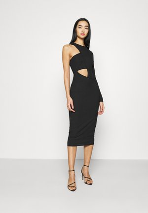 CUT OUT ONE SLEEVE MIDI DRESS - Jerseykjole - black