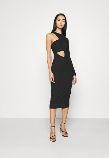 CUT OUT ONE SLEEVE MIDI DRESS