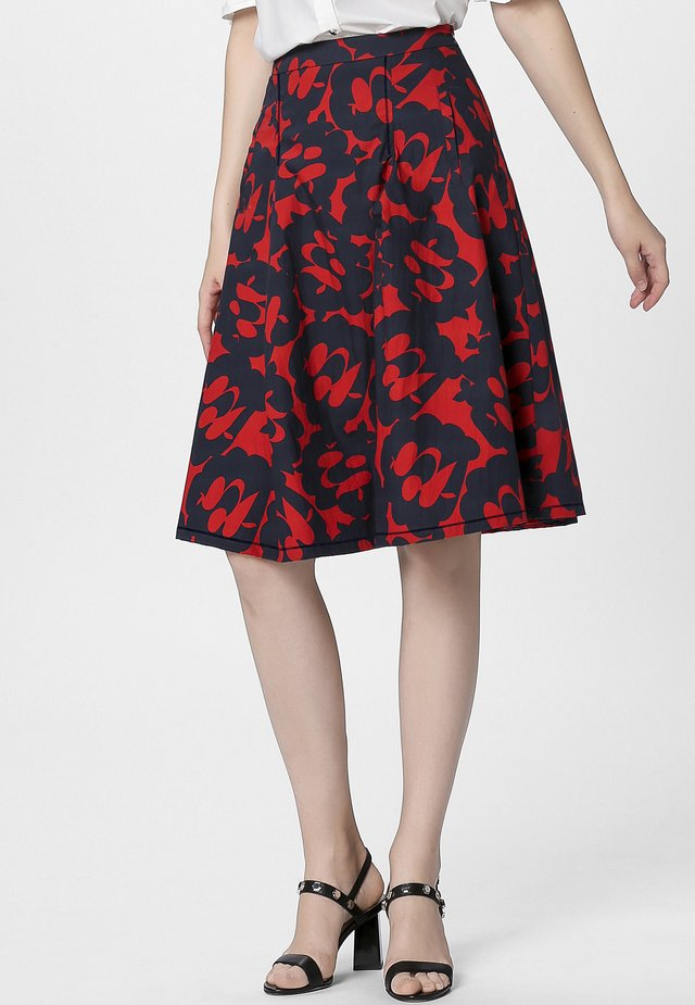 PRINTED SKIRT - A-Linien-Rock - red/midnightblue