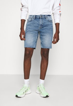 ONSPLY RAW HEM ZIP  - Denim shorts - blue denim