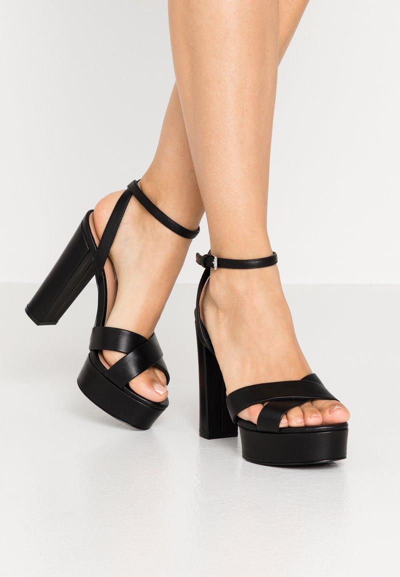 Even&Odd Wide Fit - LEATHER - High heeled sandals - black