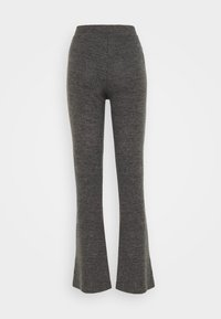 Pieces - PCPAM FLARED PANT - Trousers - dark grey melange - 1