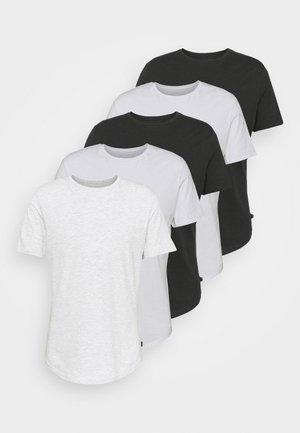 5 PACK - T-shirt basic - white/light grey/black