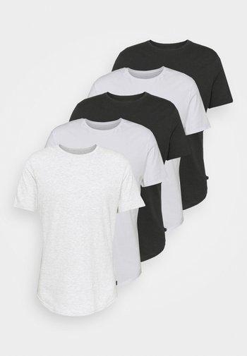 5 PACK - Jednoduché triko - white/light grey/black