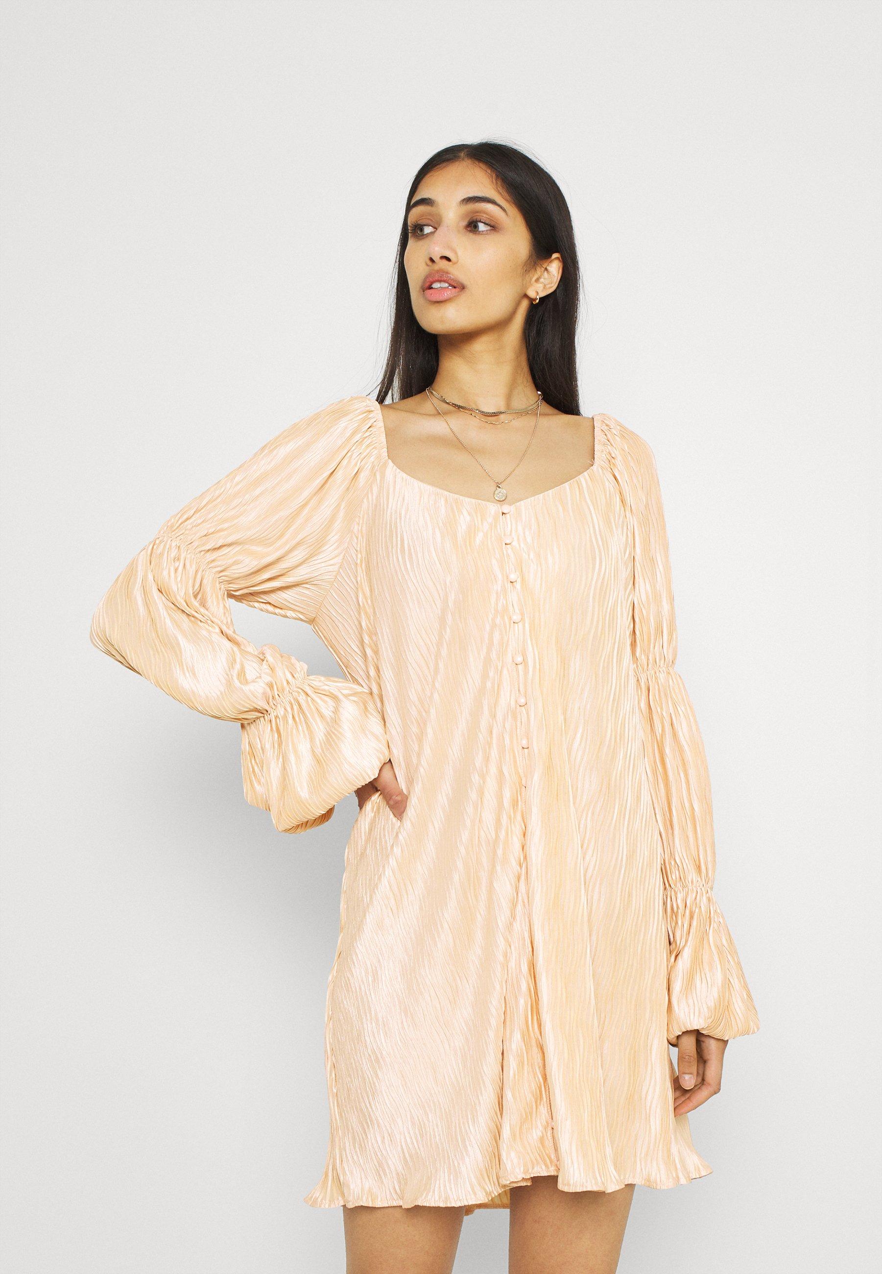 Women PLEATED BUTTON DETAIL DRESS - Shirt dress