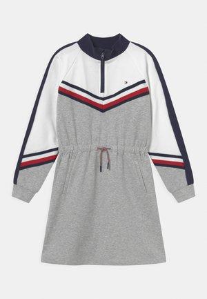 CHEVRON COLORBLOCK DRESS - Day dress - grey heather/white